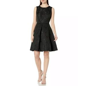 Nine West Black Floral Sleeveless Fit Flare Dress